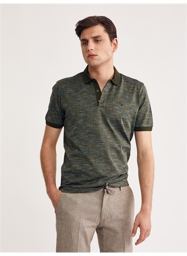 Bisse Regular Fit Desenli Polo Yaka T-Shirt Yeşil